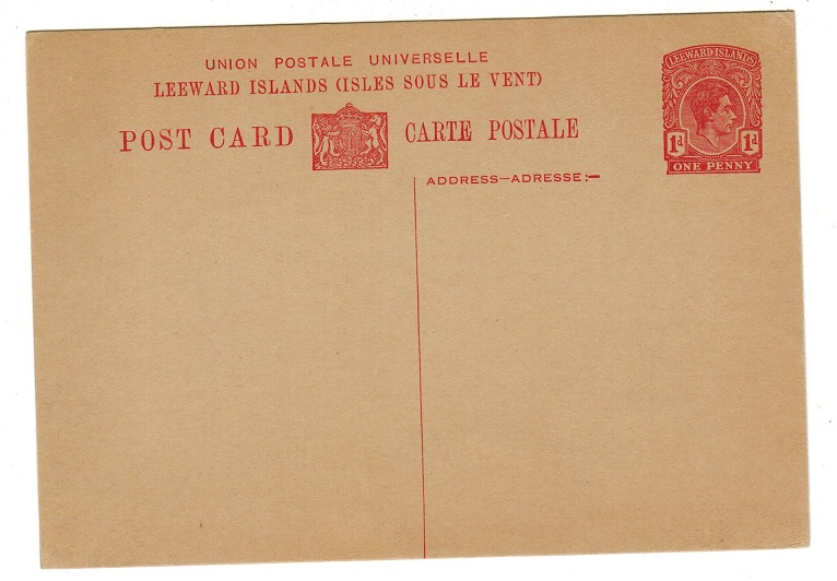 LEEWARD ISLANDS - 1938 1d red PSC unused.  H&G 17.