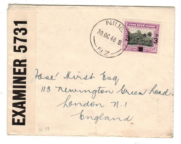 NIUE - 1940 censor cover addressed to UK.