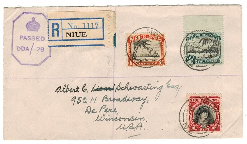 NIUE - 1943 registered censor cover to USA.