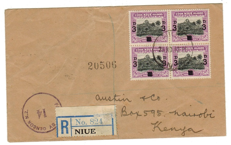 NIUE - 1942 registered censor cover to Kenya.