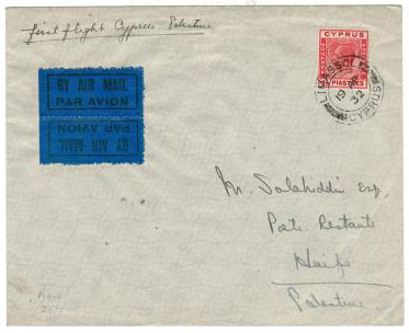 CYPRUS - 1932 First flight cover with tete beche air label.