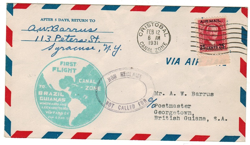 BRITISH GUIANA - 1931 inward first flight cover with NON RECLAME/NOT CALLED FOR h/s.