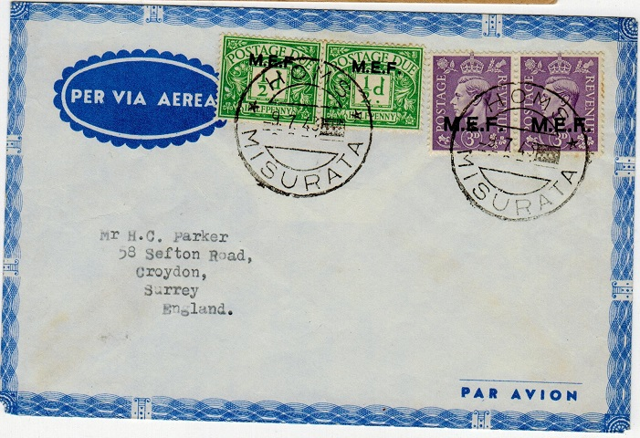 B.O.F.I.C. (Tripolitania) - 1943 cover to UK with postage dues used at HOMS.