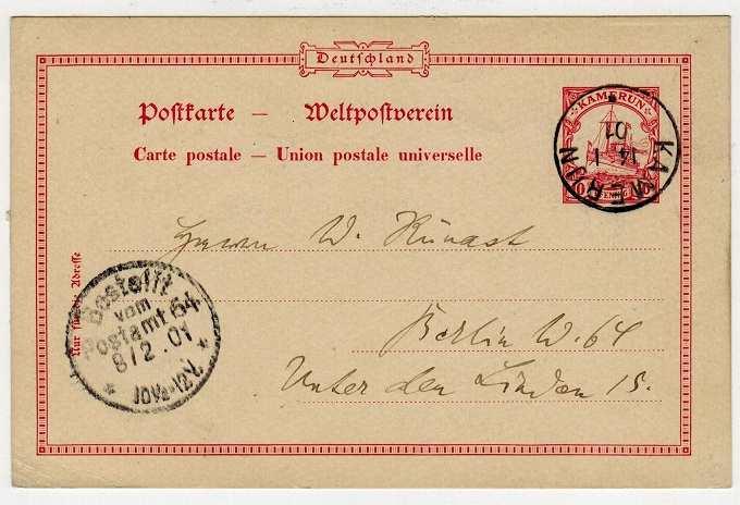 CAMEROONS (German) - 1900 10pfg PSC to Germany used at KAMERUN.  H&G 9.