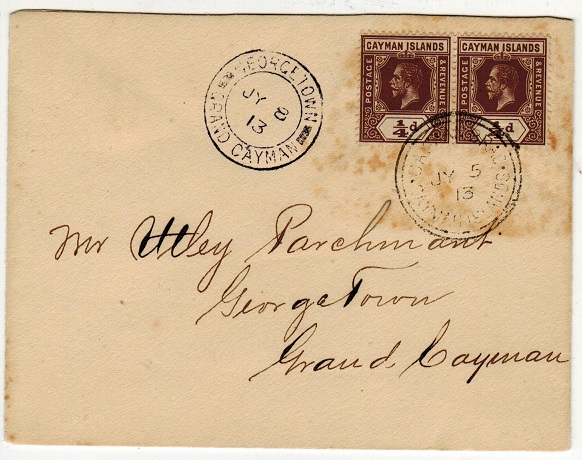 CAYMAN ISLANDS - 1913 1/4d brown (x2) use on local cover.