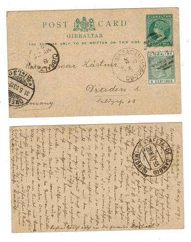 MOROCCO AGENCIES - 1889 5c PSC of Gibraltar (H&G 15) uprated to Germany and used at MAZAGAN.
