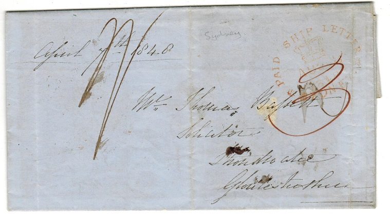 AUSTRALIA (New South Wales) - 1848 PAID SHIP LETTER/SYDNEY entire to UK.