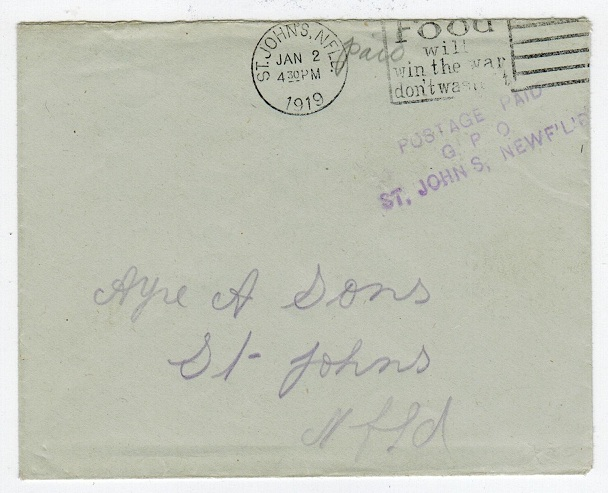 NEWFOUNDLAND - 1919 POSTAGE PAID cover with slogan strike.