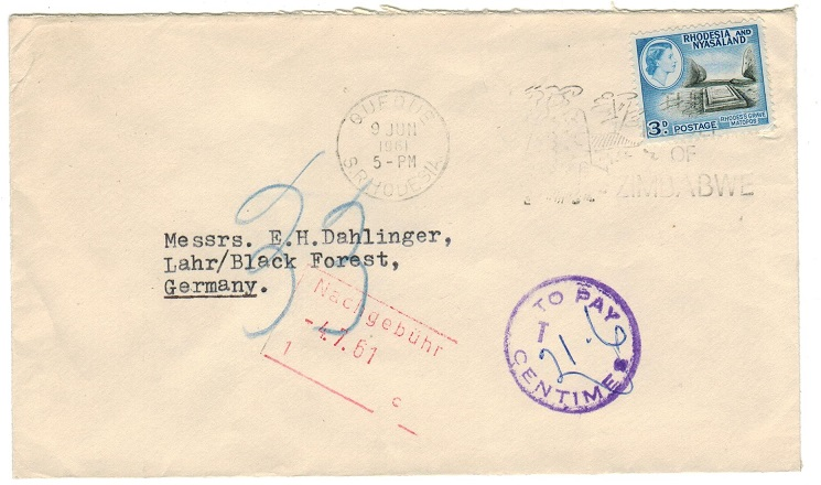 RHODESIA AND NYASALAND - 1961 underpaid cover with TO PAY/T tax handstamp.