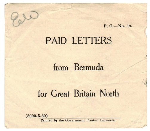 BERMUDA - 1930 (circa) PAID LETTERS FROM BERMUDA label.