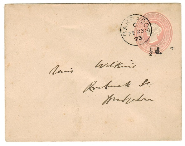 BARBADOS - 1892 1/2d BLACK on 1d pink PSE used locally.  H&G 3a.