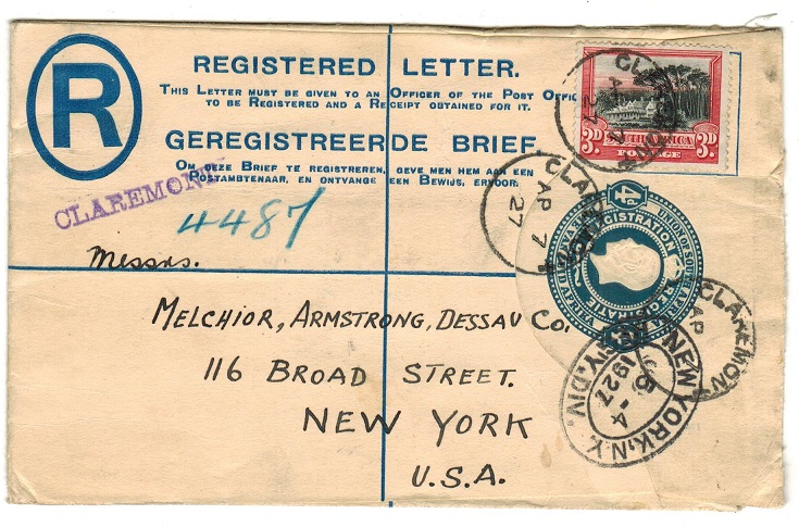 SOUTH AFRICA - 1918 4d blue uprated RPSE to USA used at CLAREMONT.  H&G 2a.