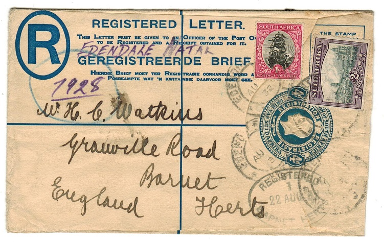 SOUTH AFRICA - 1918 4d blue uprated RPSE to UK used at EDENDALE NATAL.  H&G 2a.