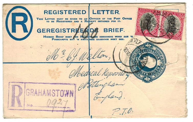 SOUTH AFRICA - 1918 4d blue uprated RPSE to UK used at GRAHAMSTOWN.  H&G 2a.
