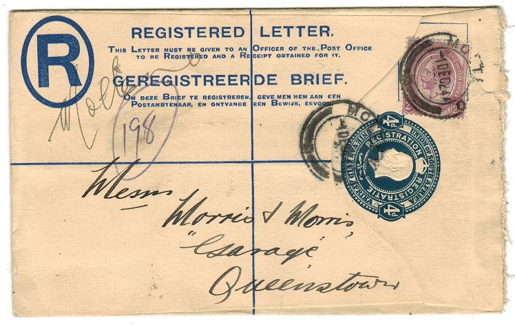 SOUTH AFRICA - 1918 4d blue uprated RPSE addressed locally and used at MOLTENO.  H&G 2a.