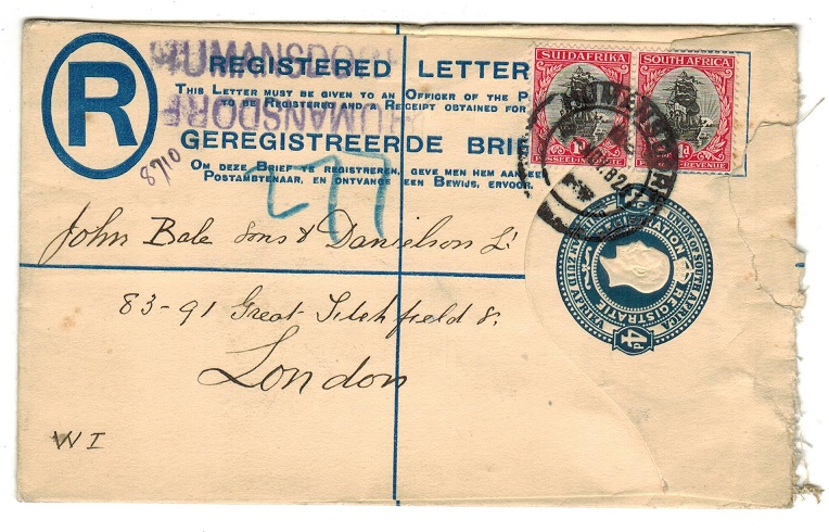 SOUTH AFRICA - 1918 4d blue uprated RPSE to UK used at HUMANSDORP.  H&G 2a.