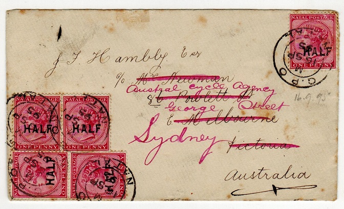 NATAL - 1895 HALF on 1d adhesive multi franked cover to Australia.