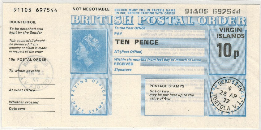 BRITISH VIRGIN ISLANDS - 1977 10p POSTAL ORDER cancelled at ROAD TOWN.
