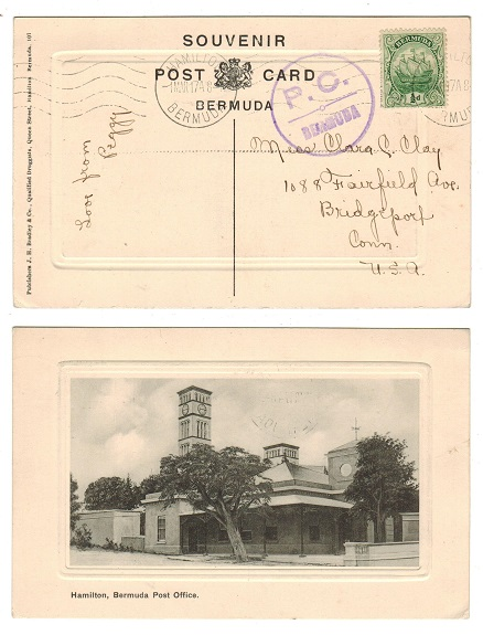 BERMUDA - 1917 1/2d rate postcard use with PC/BERMUDA censor mark to USA.