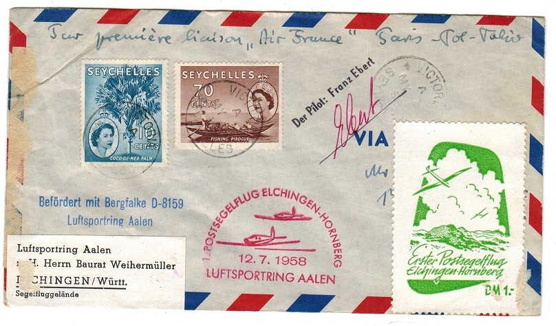 SEYCHELLES - 1958 first flight cover to Germany.