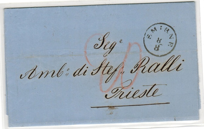 BRITISH LEVANT (Austrian Offices) - 1868 stampless entire to Italy used at SMIRNE.