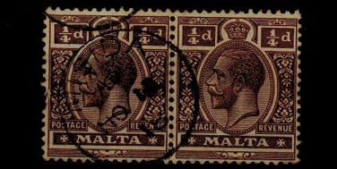 MALTA - 1914 1/4d brown pair cancelled MISIDA.  SG 69.