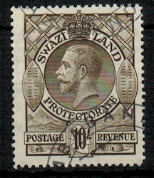 SWAZILAND - 1933 10/- sepia with MBABANE cds.  SG 20.