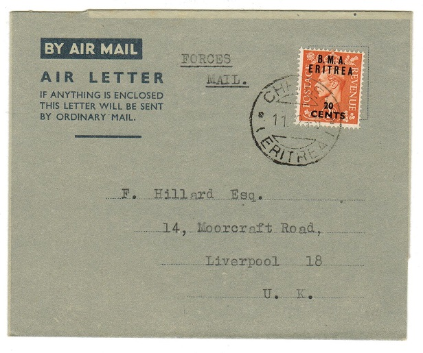 B.O.F.I.C. (Eritrea) - 1949 use of FORMULA air letter to UK used at CHEREN.
