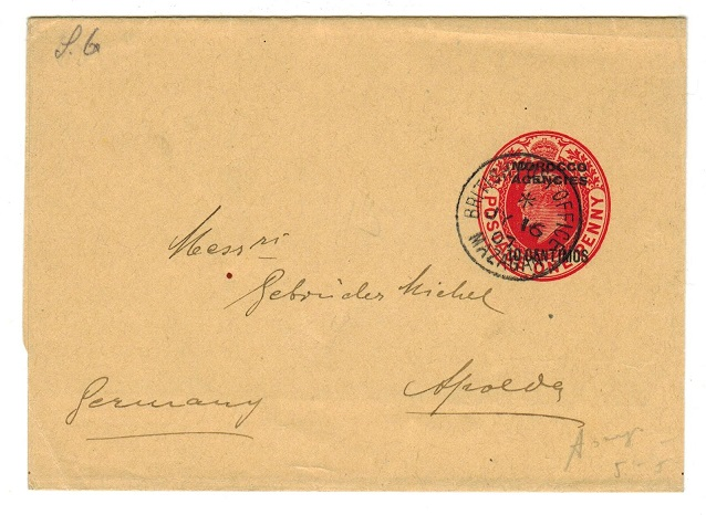 MOROCCO AGENCIES - 1906 10c postal stationery wrapper to Germany used at MAZAGAN.  H&G 7.