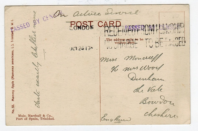 TRINIDAD AND TOBAGO - 1917 stampless OAS postcard