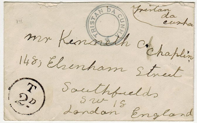 TRISTAN DA CUNHA - 1936 (circa) stampless cover to UK with SG C8 cachet applied.
