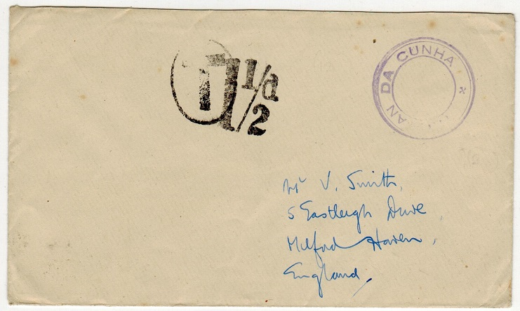 TRISTAN DA CUNHA - 1946 (circa) stampless cover to UK with SG C10 cachet applied.