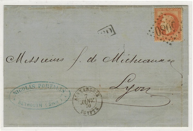 BRITISH LEVANT (French Offices) - 1869 40c rate cover to France with