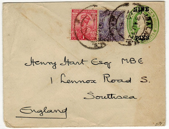 INDIA - 1921 9p on 1/2a surcharged PSE uprated to UK.  H&G 10.