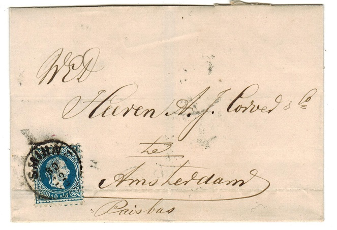 BRITISH LEVANT (Austrian Offices) - 1873 cover to Amsterdam bearing 10std used at SMIRNE.