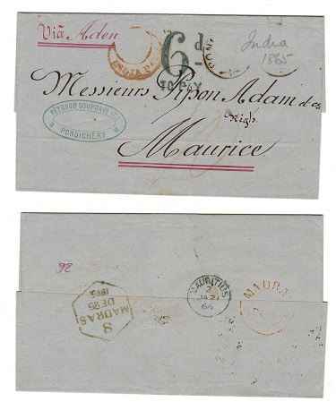 MAURITIUS - 1866 inward entire (stamp removed) with 6d/TO PAY h/s used from PONDICHERRY.
