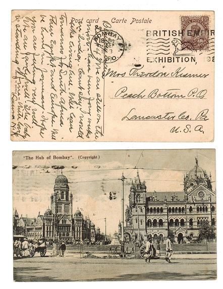 INDIA - 1923 postcard use with scarce BOMBAY BRITISH EMPIRE EXHIBITION strike.