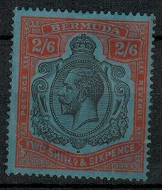 BERMUDA - 1932 2/6d (SG 89k-cat £3250+) mint cleaned fiscal with gum.