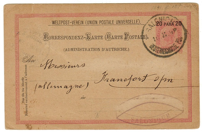 BRITISH LEVANT (Austrian Offices) - 1891 20p on 5kr PSC used at SALONICH/DESTERREICHISCHE P.O.