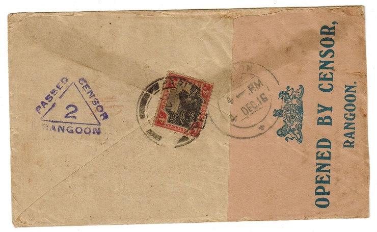BURMA - 1916 censor cover to India with scarce blue OPENED BY CENSOR/RANGOON label.