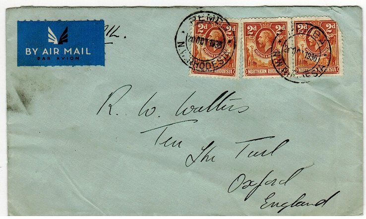 NORTHERN RHODESIA - 1935 6d rate cover to UK used at PEMBA.