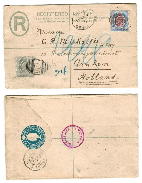 MALTA - 1902 2d uprated RPSE to Holland.