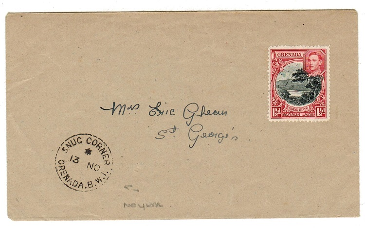 GRENADA - 1946 (circa) 1 1/2d local cover used at SNUG CORNER.