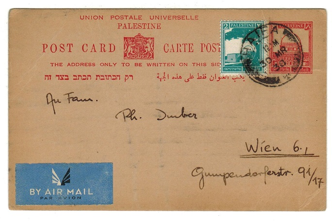 PALESTINE - 1932 8m red PSC uprated to Austria and used at HAIFA.  H&G 6.