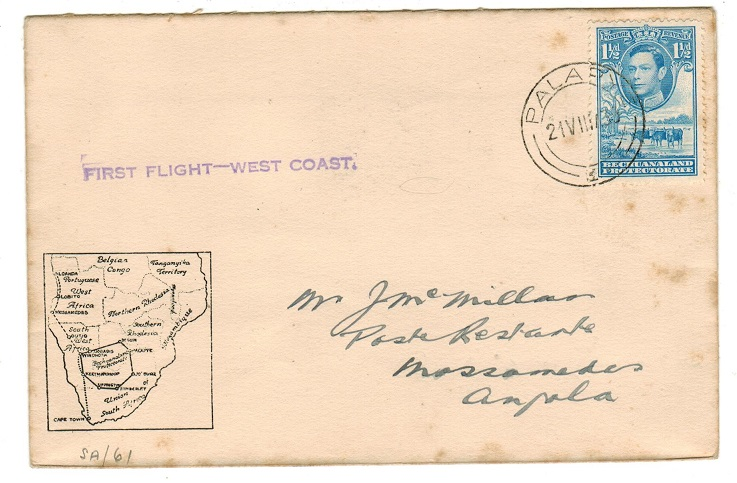 BECHUANALAND - 1939 first flight cover to Angola used at PALAPYE.
