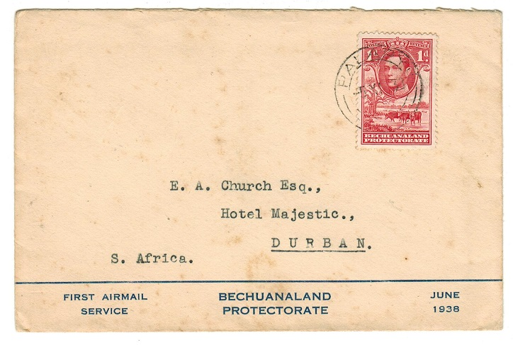 BECHUANALAND - 1938 first flight cover to Durban used at PALAPYE.