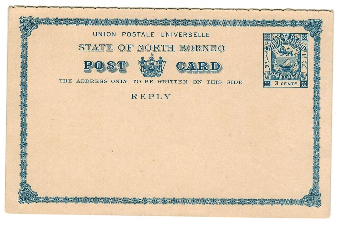 NORTH BORNEO - 1894 3c+3c blue PSRC unused.  H&G 11.