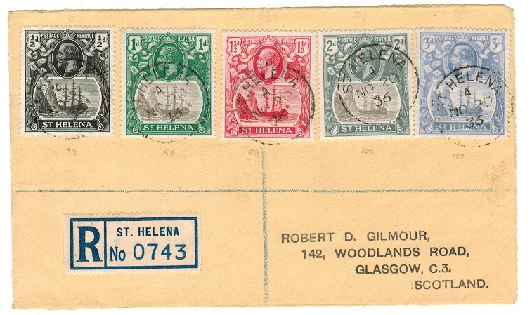 ST.HELENA - 1936 1/2d-3d registered FRONT showing the scarcer late 1/2d dark centre.
