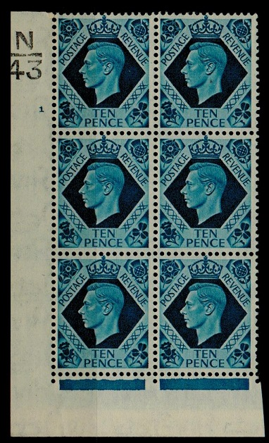 GREAT BRITAIN - 1939 10d turquoise blue mint N/34 (plate 1) cylinder block of six.  SG 474.