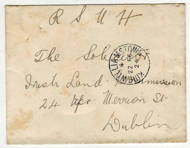 IRELAND - 1924 stampless official local cover used at KINGWILLIAMSTOWN.